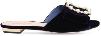 Sebastian 10mm Embellished Velvet Slide Sandals