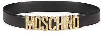 Moschino Crystal-Embellished Logo Leather Belt