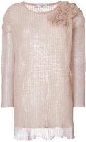 Valentino floral appliqué knit jumper - women - Polyamide/Spandex/Elastane/Mohair/Virgin Wool - XS