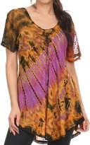 Sakkas 16787 - Splenka Long Tie Dye Embroidered Corset Neck Cap Sleeve Blouse Shirt Top - OS