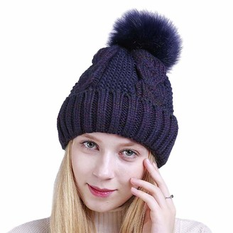 Kangqifen Women Cable Knit Slouchy Cuff Beanie with Faux Fur Pompom Fleece Lined Hat Winter Warm Soft Ski Cap Navy Blue