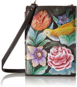 Anuschka Womens Genuine Leather Handbag - Triple Compartment Accordion Style Sling Crossbody - Vintage Bouquet One Size