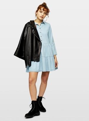 Miss Selfridge Blue Denim Smock Shirt Dress