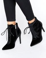 Carvela Glen Velvet Lace Up Heeled Ankle Boots