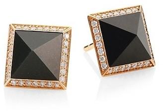 Roberto Coin Obelisco 18K Rose Gold, Jade & Diamond Stud Earrings