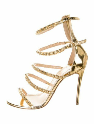 Christian Louboutin Leather Studded Accents Sandals Gold