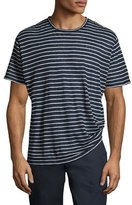 ATM Anthony Thomas Melillo Striped Linen-Silk Crewneck T-Shirt, Blue/White