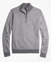 Brooks Brothers Merino Wool Herringbone Half-Zip Sweater