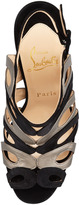 Christian Louboutin Cerso Suede/Metallic Strappy Red Sole Sandal