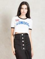 Stussy White Cities Crop Ringer T-shirt