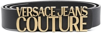 Versace Jeans Couture Logo-Lettering Leather Belt