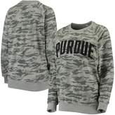 Unbranded Women's Pressbox Camo Purdue Boilermakers Gulfport Applique French Terry Crew Neck Sweatshirt