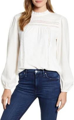 Caslon Pintuck Lace Detail Long Sleeve Cotton Blouse