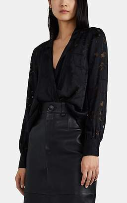 Rag & Bone Women's Dean Draped Floral-Burnout Blouse - Black