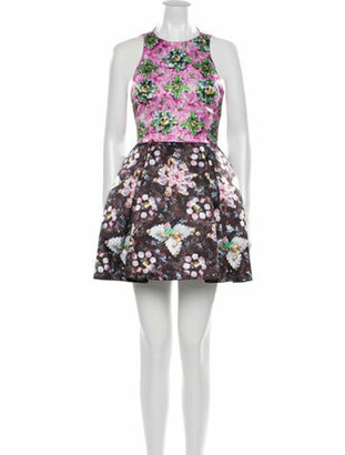 Mary Katrantzou Floral Print Mini Dress Brown