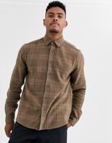 Asos Design ASOS DESIGN regular fit check overshirt in brown texture
