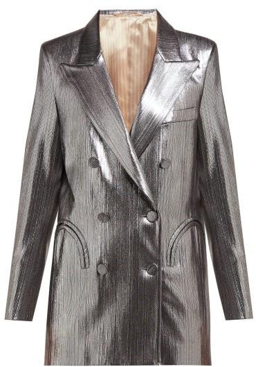 BLAZÉ MILANO Nova Double Breasted Metallic Jersey Blazer - Womens - Silver