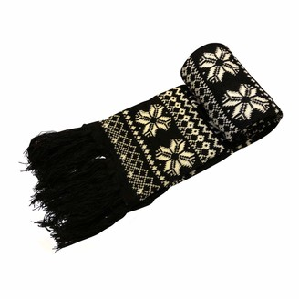 Central Chic Thick Knitted Winter Scarf With Reindeers and Snowflakes In Black (Scarf 2)