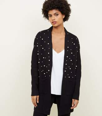 New Look Blue Vanilla Faux Pearl Embellished Cardigan
