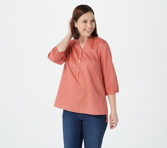Denim & Co. 3/4 Sleeve Hi-Low Hem Top with Crochet Trim