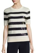 Carolina Herrera Sequin-Striped Wool Knit Top