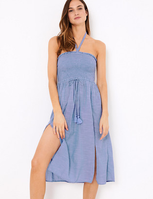 Marks and Spencer Pure Cotton Woven Midi Shirred Beach Dress