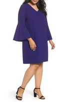 Tahari Plus Size Women's Bell Sleeve Crepe Shift Dress