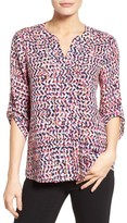 Chaus Women's Print Pleat Roll Sleeve Blouse