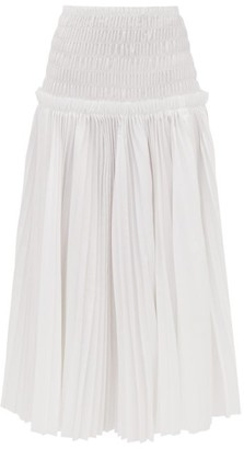 KHAITE Rosa Pleated Cotton Poplin Midi Skirt - Womens - White