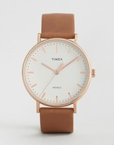 Timex Fairfield 41mm Leather Watch In Black