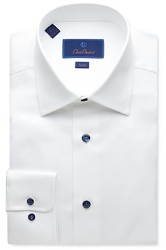 David Donahue Textured-Weave Trim Fit Dress Shirt