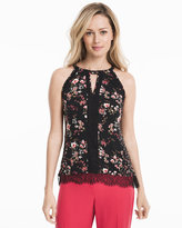 White House Black Market Sleeveless Floral Print Top with Lace