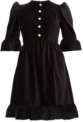 Batsheva Faux-pearl Buttoned Cotton-velvet Dress - Womens - Black