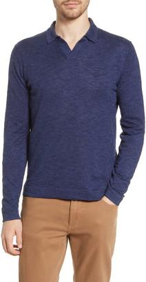 Hartford Long Sleeve Linen & Cotton Johnny Collar Polo