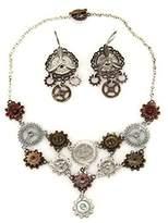 Elope Steampunk Multi Gear Necklace And Earrings