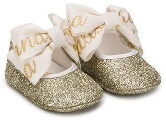 MonnaLisa Bow-Detail Glitter Ballerina Shoes