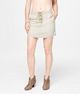 Lace-Up Tan Wash A-Line Denim Skirt