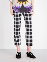 Christopher Kane Check-pattern cropped high-rise trousers