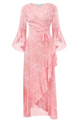 Melissa Odabash Cheryl Ruffled Leaf-print Maxi Wrap Dress - Pink Print