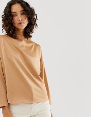 Vero Moda aware high neck satin blouse-Tan