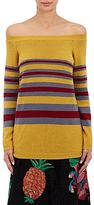 Valentino Women's Striped Cashmere Off-The-Shoulder Sweater-YELLOW