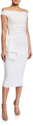 Chiara Boni Off-the-Shoulder Jersey Dress with Flap-Waist Detail