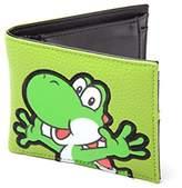 Bioworld Nintendo Super Mario Bros. Yoshi Pvc Patch Bi-Fold Wallet, Black (Mw050205Ntn) Credit Card Case, 17 cm, Green