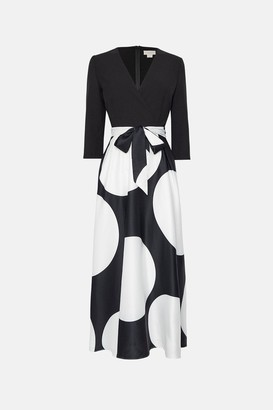 Coast Solid Wrap Bodice Printed Skirt Dress