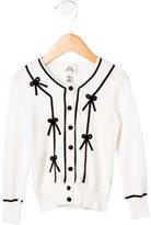 Milly Girls' Embellished Rib Knit Cardigan