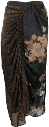 Preen by Thornton Bregazzi Mixed-Print Draped Skirt
