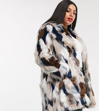 Simply Be faux fur patchwork coat