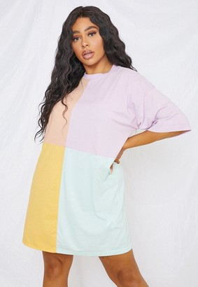 Missguided Plus Size Lilac Colorblock Oversized T Shirt Dress