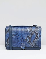 Modalu Leather Shoulder Bag In Faux Snake Mix