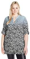 Calvin Klein Women's Plus Size Printed Roll Sleeve Top